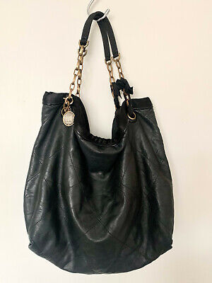 Lanvin Black Soft Leather Quilted Large Amalia Tote Shoulder Bag Condition Good • 395£