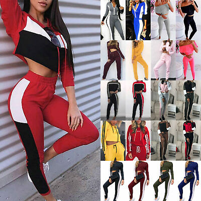 Womens Cropped Tops Hooded Tracksuit Sweatshirt Set Gym Sport Loungewear Suit 12 • 18.79£