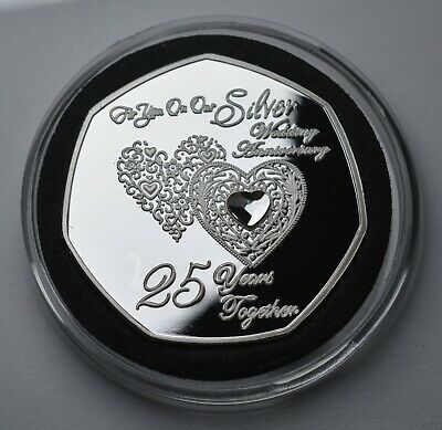 £9.49 • Buy ON OUR 25th SILVER WEDDING ANNIVERSARY Commemorative. Capsule. Gift/Present. Gem