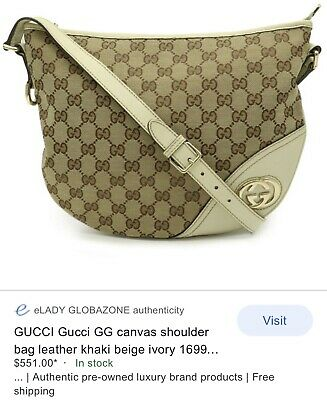 AU249 • Buy Authentic Gucci GG Canvas Shoulder Bag Leather Khaki Beige Ivory