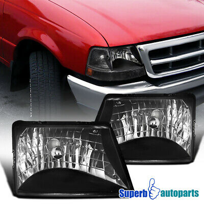 $62.98 • Buy For 1998-2000 Ford 98-00 Ranger Diamond Head Lights Lamps Black Replacement