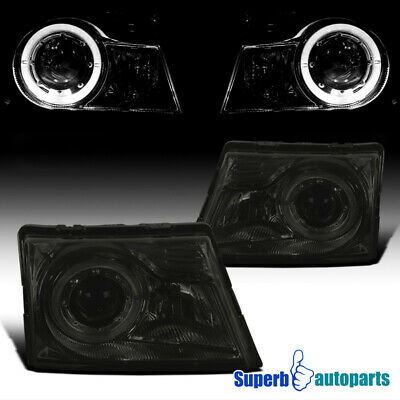 $97.98 • Buy For 1998-2000 Ford Ranger Smoke Projector Headlights Lamps W/ Halo Ring