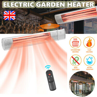Garden Heater Patio Outdoor Electric Wall Mounted Infrared 2000w Garage W/Remote • 73.99£