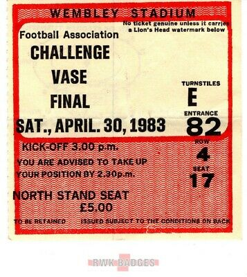 30/04/1983 HALESOWEN TOWN V VS RUGBY FA VASE FINAL MATCH TICKET • 4.99£