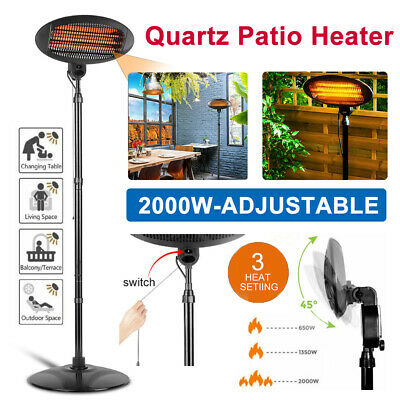 2kw Patio Heater Garden Home Free Standing Electric Warmer Outdoor Quartz 2000w • 79.99£