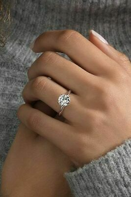 1.75 Ct Round Cut Solitaire Diamond Engagement Wedding Ring 14K White Gold Over • 84£