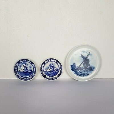 £6.94 • Buy 3× Vintage Delft Miniature Blue & White Ceramic Windmill Plates Hand Painted