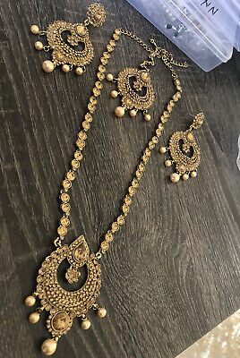 New Bollywood Indian Costume Jewellery Long Necklace Set Gold Bronze Stone Pearl • 18£