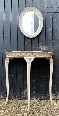 Pretty Vintage French Louis Style Demi Lune Half Moon Console Hall Table • 38£