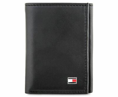 AU58.50 • Buy Mens Tommy Hilfiger Genuine Leather Oxford Slim Trifold Wallet Black Gift Boxed