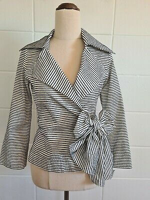 AU42.50 • Buy CARLA ZAMPATTI Stripe Wrap Top Sz 6