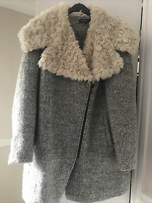M&S Limited Collection Ladies Grey Coat Faux Fur Collar Size 16 • 10£