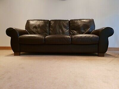 Dark Brown Leather With Contrast Stitching, 3 Piece Suite, Good Condition • 45£