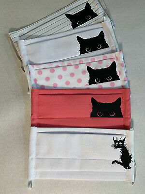 $ CDN9.91 • Buy Face Covers Protection - Triple Layers 100% Cotton - Black Cats Nice Gift