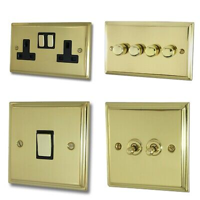 £20.95 • Buy G&H Deco Plate Polished Brass DB3 Light Switches, Plug Sockets, Dimmers, Cooker