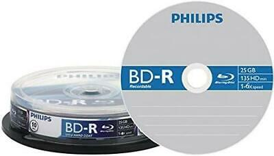 £8.99 • Buy Philips Blue Ray Disks 10 Pack 25GB 135 Minutes Capacity Single Side Layer BD-R