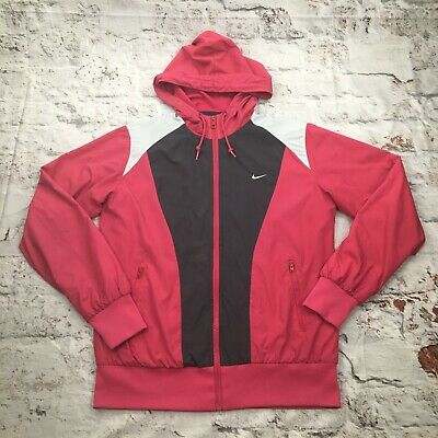Nike Women's Large Pink Track Jacket Shell Hooded Athletic Gym Running Top • 19.99£