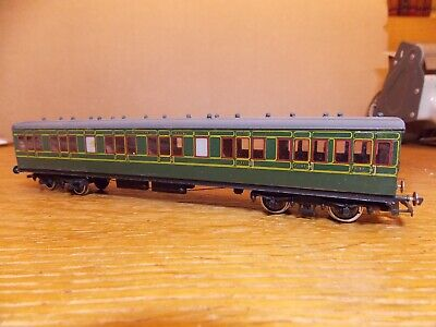KIT BUILT Ex-LSWR NON CORRIDOR 1st / 3rd COACH No 3406 SR Green Livery 00 Gauge. • 45£