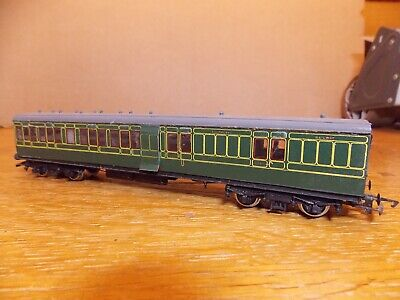 KIT BUILT Ex-LSWR NON CORRIDOR BRAKE 3rd COACH In SR Green Livery 00 Gauge. • 45£