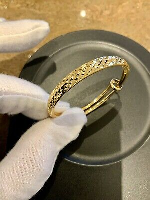 9ct Yellow Gold Baby//Childs /'Little Princess/'  Expandable Bangle
