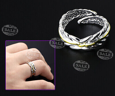 Adjustable Silver Plated FEATHER RING Thumb Wrap Ring Opening • 4.08£