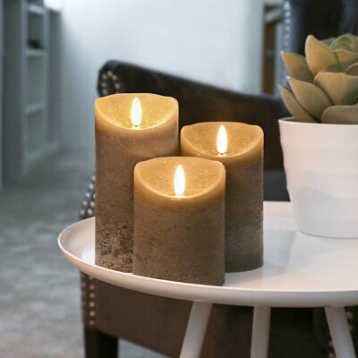 £27.99 • Buy  Authentic Real Wax Flame Battery Flickering LED Candle Lights Grey   Indoor