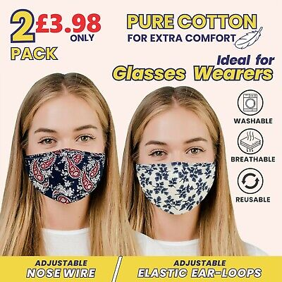 £3.49 • Buy Face Masks With Nose Wire Reusable Washable PM2.5 Filter Pocket And Air Valve UK