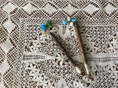Two Vintage Lace Making Bobbins Hand With Glass Beads • 4.50£