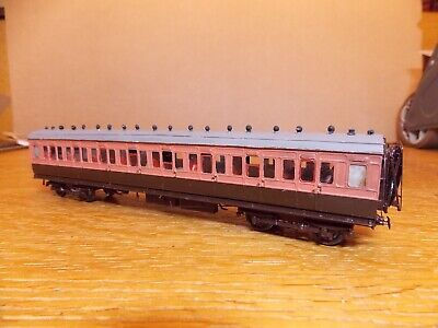BRASS KIT BUILT LSWR 56' CORRIDOR ALL 3rd COACH In LSWR Salmon & Brown EM Gauge • 55£
