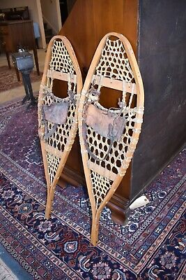 $ CDN285.88 • Buy Primitive Pair Of Antique Wood Snow Shoes With Leather