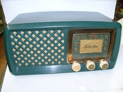 $ CDN199.82 • Buy Vintage Sears Silvertone Tube Radio - GREEN - Model 2011 - Art Deco Design