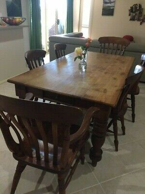 AU150 • Buy Solid Timber Teak Dining Table & 8 Chairs **euc**