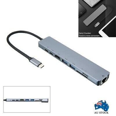 AU28.99 • Buy USB-C 3.1 To Type-C USB 3.0 Hub HDMI RJ45 Ethernet Micro SD TF OTG Adapter 8in1