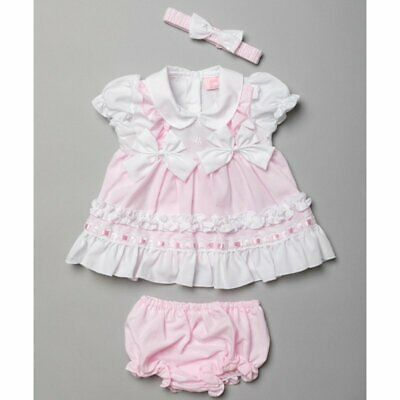 £11.99 • Buy Spanish Style  Baby Girls Dress And Knickers BOW Headband Pink /White 03 -69 M
