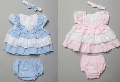 £11.99 • Buy Spanish Style BOW Baby Girls Dress And Knickers Headband Pink /Blue 03m -69 M