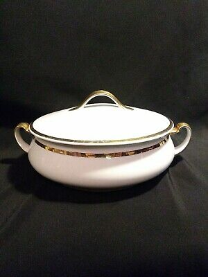 $60 • Buy  Antique M Z Austria White Covered Bowl With Gold Trim