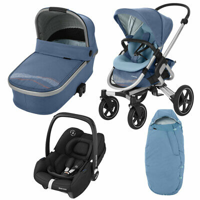 Maxi Cosi Nova Pushchair, Oria Carrycot, Tinca Car Seat & Footmuff Blue RRP:£856 • 299£