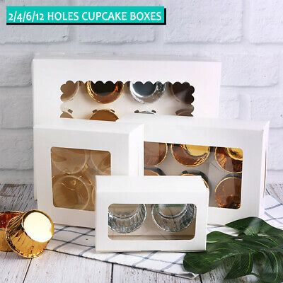 AU11.99 • Buy Cupcake Box 2/4/6/12 Holes Window Face Muffin Wedding Party Gift Cup Cake Boxes