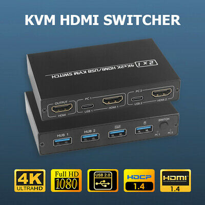 AU25.94 • Buy HDMI KVM Switch Ultra HD 4K For 2 PC Sharing Monitor Keyboard Mouse Printer New