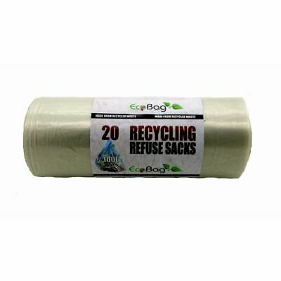 £4.85 • Buy 20 Recycling Bin Bags Refuse Sacks Clear Super Strong Ecobag Waste Rubbish 100L