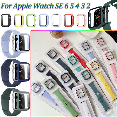 $ CDN7.89 • Buy Silicone Strap Watch Band+Case Protect Cover 40/44mm For Apple Watch Series SE 6