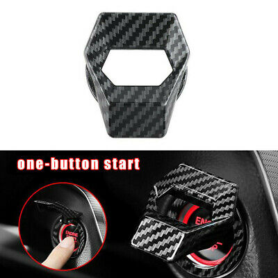 Carbon Fiber Engine Start Stop Push Button Switch Cover Sticker Car Accessories • 5.83£