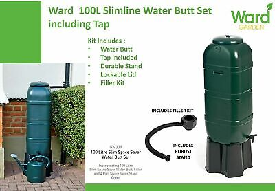 £31.50 • Buy Strata Slimline Water Butt In Green Plastic With Stand And Filler Kit 100 Litre
