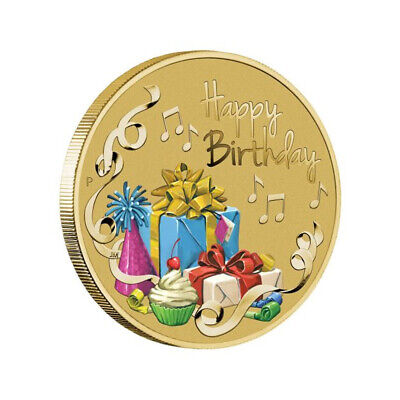 AU12 • Buy Australia 2019 Happy Birthday $1 Dollar Coloured UNC Coin Carded