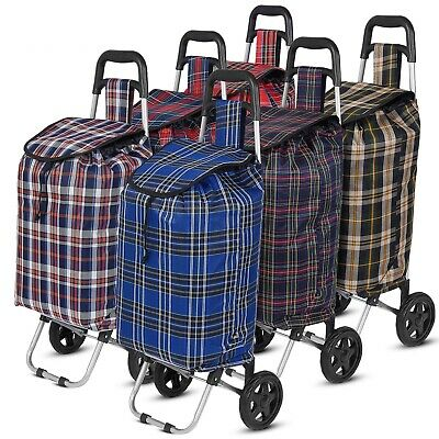 Large Shopping Trolley Cart 2 Wheels Foldable 47L Capacity Durable Luggage Bag • 12.99£