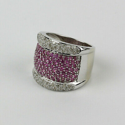 AU1143.51 • Buy Pave Diamond And Pink Sapphire Wide Band In 14k White Gold Size 6.5