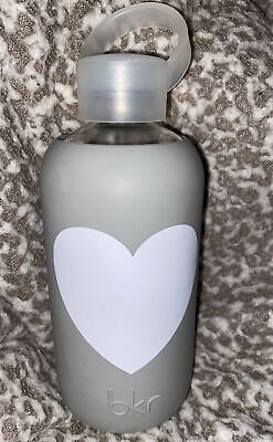 ❤️ Bkr Glass Water Bottle Gray & White Heart Silicone Sleeve • 6.51£