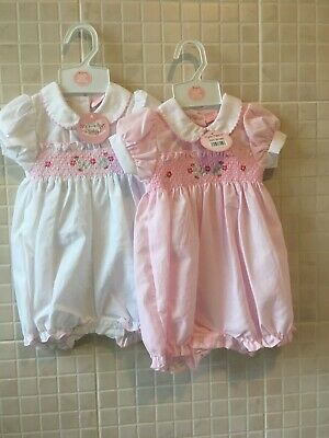 £11.99 • Buy Baby Girls Spanish Style Floral Smocked Romper White /pink  Rock A Bye 0-9 Month
