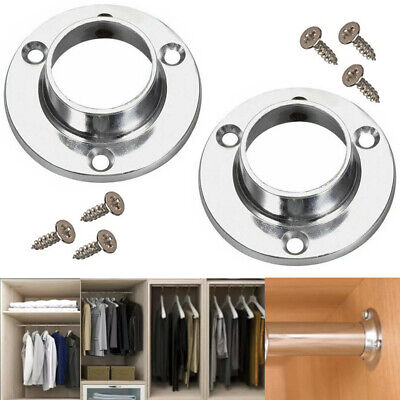 £2.99 • Buy STRONG 25mm CHROME RAIL BRACKETS Round Cupboard Pole Wardrobe End Replacement