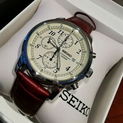 $ CDN149.90 • Buy Seiko SNDC31P1 Men's Watch Stainless Steel & Brown Leather Chronograph 40mm